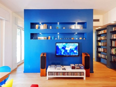 Interior architecture. A house with coloured walls